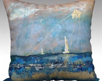 Sailboats Pillow Cover Blue and Gold