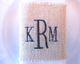 set of 4 - monogrammed burlap napkin rings - set of 4