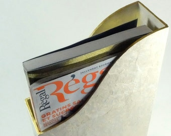 White and gold filet box to put your receipts, bills, cookery books and magazines in place