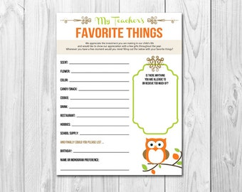 Teacher's Favorite Things List  |  Printable
