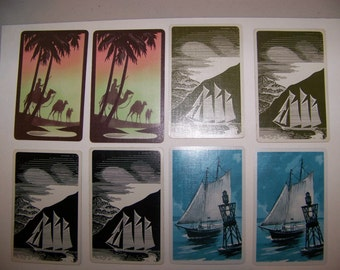 8 Vintage Art Deco Playing Cards-- Ships and Camels Playing Cards