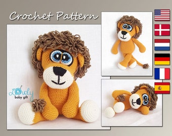 Amigurumi Pattern, Crochet Animal Pattern, Lion Amigurumi Crochet Pattern, Stuffed Toy, CP-119