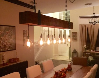 Awesome Reclaimed Wood Beam Chandelier With Globe Edison Lights