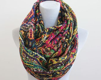 Multicolored Paisley Infinity Scarf, Colorful Aztec Scarf, Paisley Loop Scarf, Christmas Gift, For Her, For Women, Fashion Scarf, Moms Gift