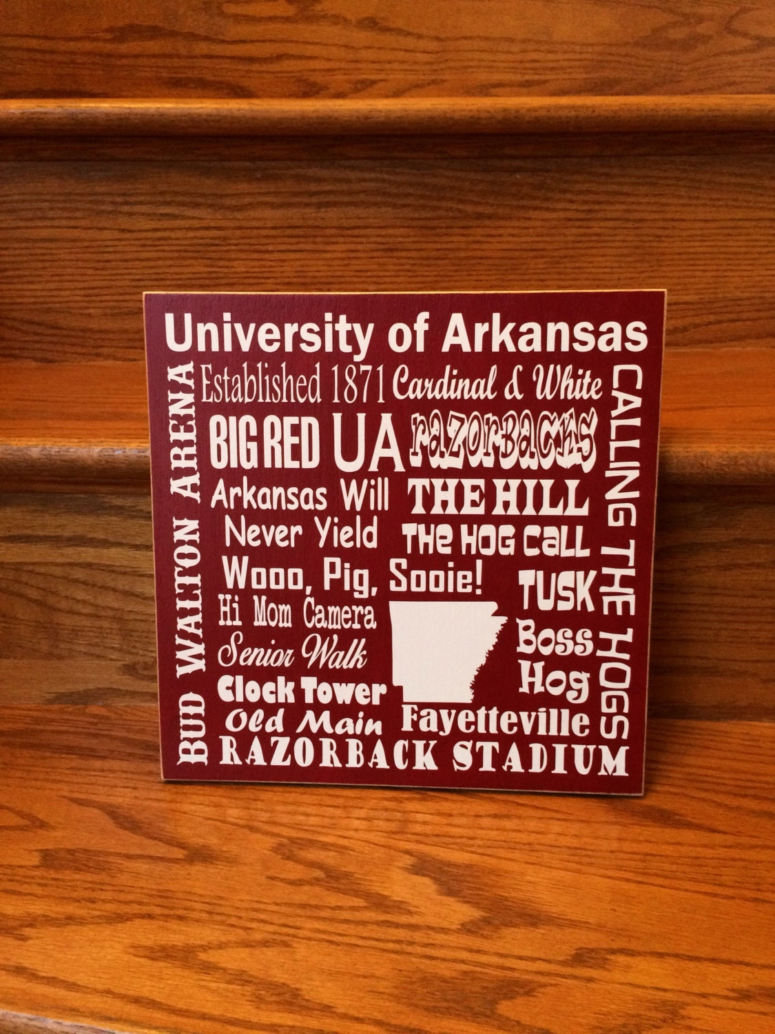 university of arkansas sign razorbacks gift subway art. Black Bedroom Furniture Sets. Home Design Ideas