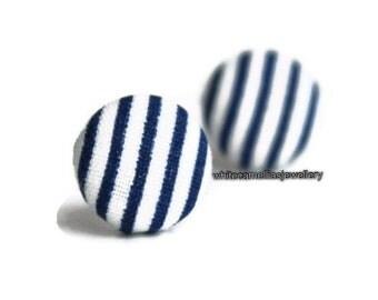 Women's earrings, Fabric Button earrings, Stripe earring, Fabric studs, Button studs, Blue and white stripes, Nautical earring