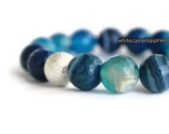 Womens bracelet, Blue agate bracelet, Elastic Beaded bracelet, womens Stretch bracelets,