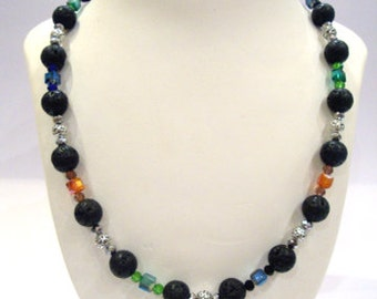 FREE SHIPPING Santorini Greek Lava Stones 14 mm Handmade Long Necklace - Crystal & Metal Beads - 64 cm - 24.96 inches