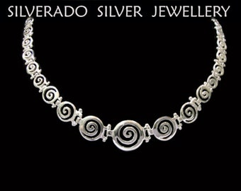 "Sterling Silver 925 Ancient Greek Infinity Spiral Key Graduaded Necklace 42cm, 16.38"", Silver Greek Necklace, Spiral Necklace, Greek jewelry"