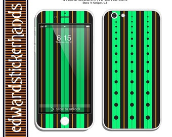 iPhone Decorative Cover Skin- Dots 'n Stripes v.1 Pattern!