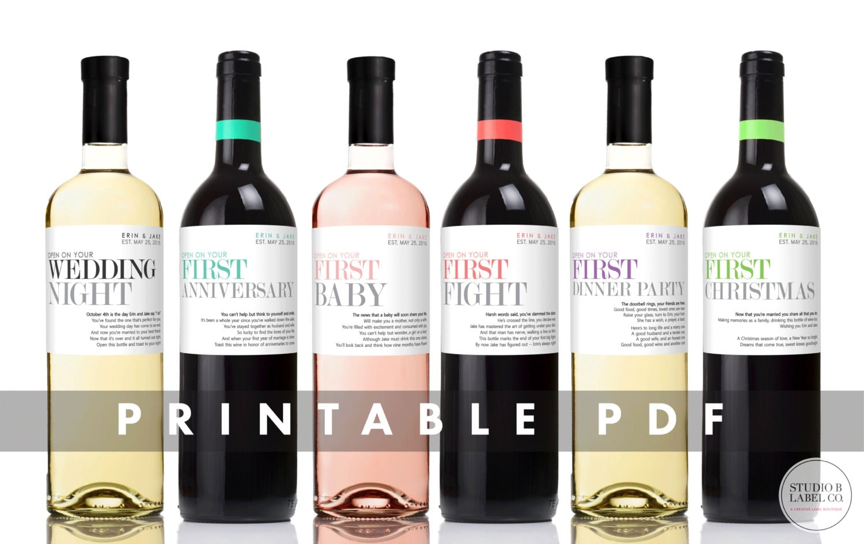 PRINTABLE Wedding Wine Labels Milestone Stickers Unique