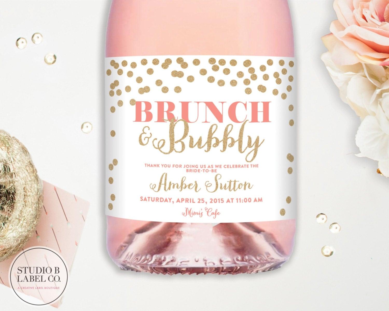 Bridal shower champagne labels wedding wine labels brunch for Champagne brunch bridal shower