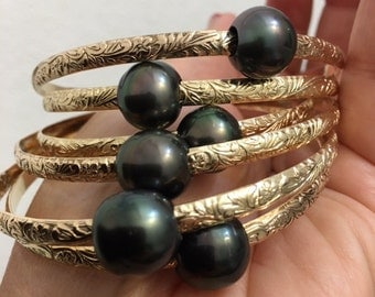 4mm 14k goldfill patterned tahitian pearl bangles