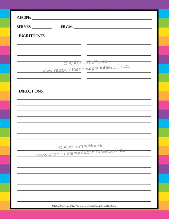 printable recipe card templates