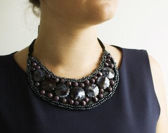 Wild berries beaded bib necklace