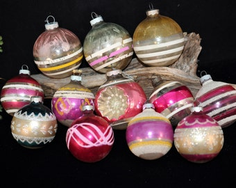 Box 12, Christmas Ornaments, /box, We have more, Vintage 1950's Christmas ornament, Stripes, Indent, Bell, Christmas Decoration #56