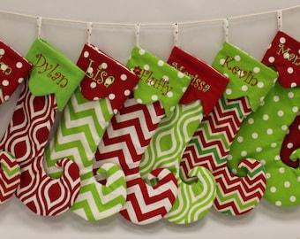 Personalized/Embroidered Chevron/Dot Elf Christmas Stocking - 1 stocking