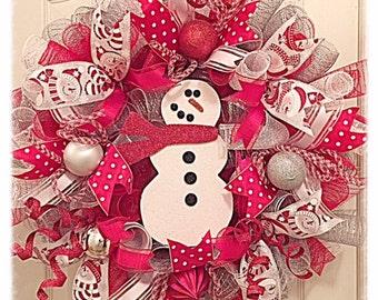 Summer Sale-Snowman Christmas Deco Mesh Wreath/Christmas Wreath/Snowman Wreath/Snowflake Wreath/Red Snowman Wreath
