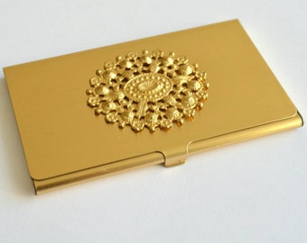 brass plated fillagree business card holder