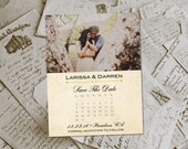 """Wedding Save The Date Magnets - HarvestBarn II Rustic Photo Personalized 4.25""""x5.5"""""""