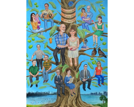 Meaningful Wedding Gift For Parents : 40th Wedding Anniversary gift for parents, custom fun family portrait ...