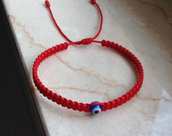 Red Kabbalah Bracelet Macrame bracelet Evil Eye Bracelet Kabbalah Jewelry Evil Eye Jewerly Tiny red string Bracelet
