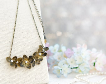 gold hydrangea necklace ,handmade flowers necklace