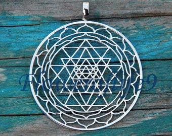 Sri Yantra pendant (1 3/8 inch) - Stainless Steel