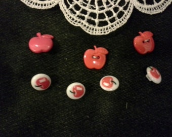 Apple buttons Lot of 7 red apple buttons