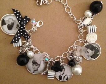 Audrey Hepburn Charm Bracelet - Handmade Vintage Retro (FREE or LOW COST shipping)