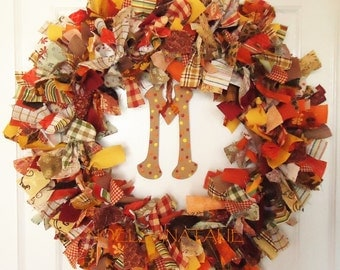 Autumn Fabric Scrap and Ribbon Wreath with Initial