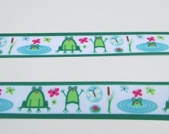 Flipping Frog lillypad grosgrain ribbon - 7/8 inch wide x 3 or 5 yards