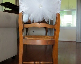 Tulle Chair Cover with Stretch lace band -  for bridal shower, baby shower,  tutu party,  party chair decoration and   table decoration