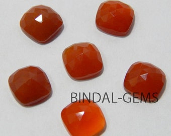 Wholesale Lot 10 Pcs Red Onyx Cushion Shape Rose Cut Gemstone For Jewelry