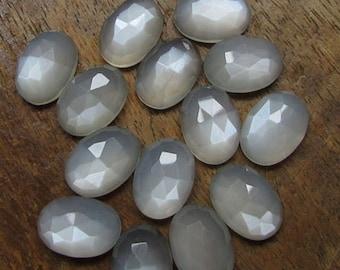 10 Pieces Amazing Lot Gray Moonstone Oval Shape Rose Cut Loose Gemstone