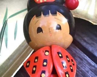 Vintage Carved Wood Kokeshi Doll Japanese Geisha Collectible Doll