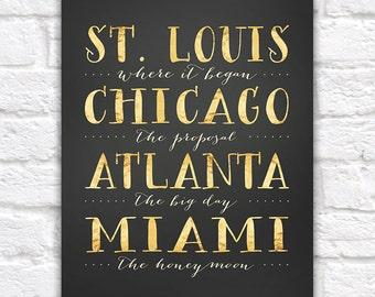 City Typography Print, Custom Locations, Wedding Gift,  Print, Where we met, Where he proposed, Where we married, Honeymoon Travel   WF280