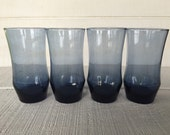 4 vintage 13 oz Midnight blue Apollo tumblers by Libbey, vintage cobalt blue glasses, blue water/ice tea glasses, retro cobalt blue tumblers