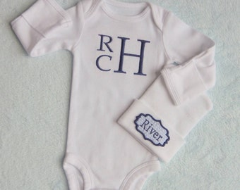 Baby Boy Coming Home from the Hospital. Monogram Bodysuit. Hospita Hat. Coming Home from Hospital. Newborn Baby Boy Outfit. Boy Going Home