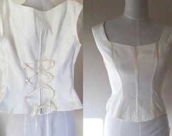 Vintage bustier // cream corset top // vintage boned corset bustier //vintage laced bustier corset