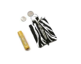 Zebra print ear buds holder, zippered pouch, small coin purse. Stocking stuffer.
