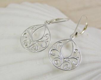 Silver Teardrop Earrings, Sterling Silver Earrings, Silver Scroll Earrings, Silver Leverback Earrings, Tiny Teardrop Earrings