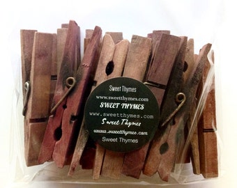 Clothespins 25 Bulk Wine Stained Wedding Decoration Rustic Home Decor Photo Display Place Card Holder