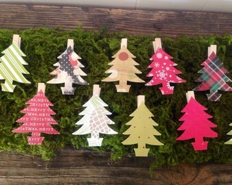 Christmas Trees Vintage Christmas Clothes Pins Banner 12 Holiday Decor Gift Wrapping Tannenbaum Card Hanger Garland Clips Rustic