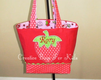 Strawberry Tote Bag/ Strawberry Purse/ Strawberry Lunch Bag (personalized)