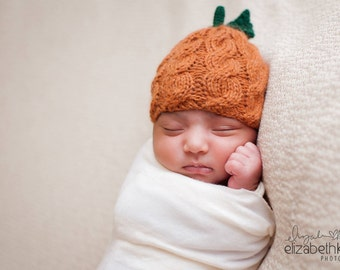 Newborn Pumpkin Hat - Halloween Props - Pumpkin Hat - Fall Photo Props - Baby Pumpkin Hat - Jack O Lantern - Newborn Prop - Baby Shower Gift