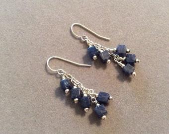 Sterling Silver Blue Stone Dangle Earrings Handmade