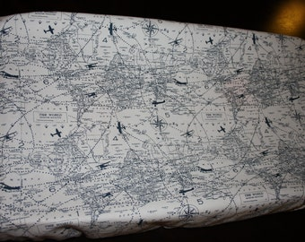 Air Traffic Changing Pad Cover  Navy Blue on White
