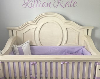 Crib Bumpers Solid lilac(lavender) with lilac ties