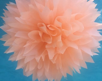 PEACH / 1 tissue paper pom pom / wedding decorations, birthday decor, bridal shower, nursery decor, tissue pom, paper pom, pom pom